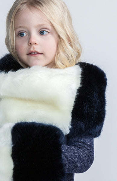 KIDS FAUX FUR COLOR BLOCK SCARF