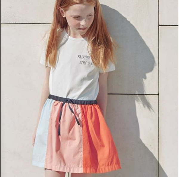 color block woven skirts