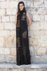 has a dark rich centre halter dress