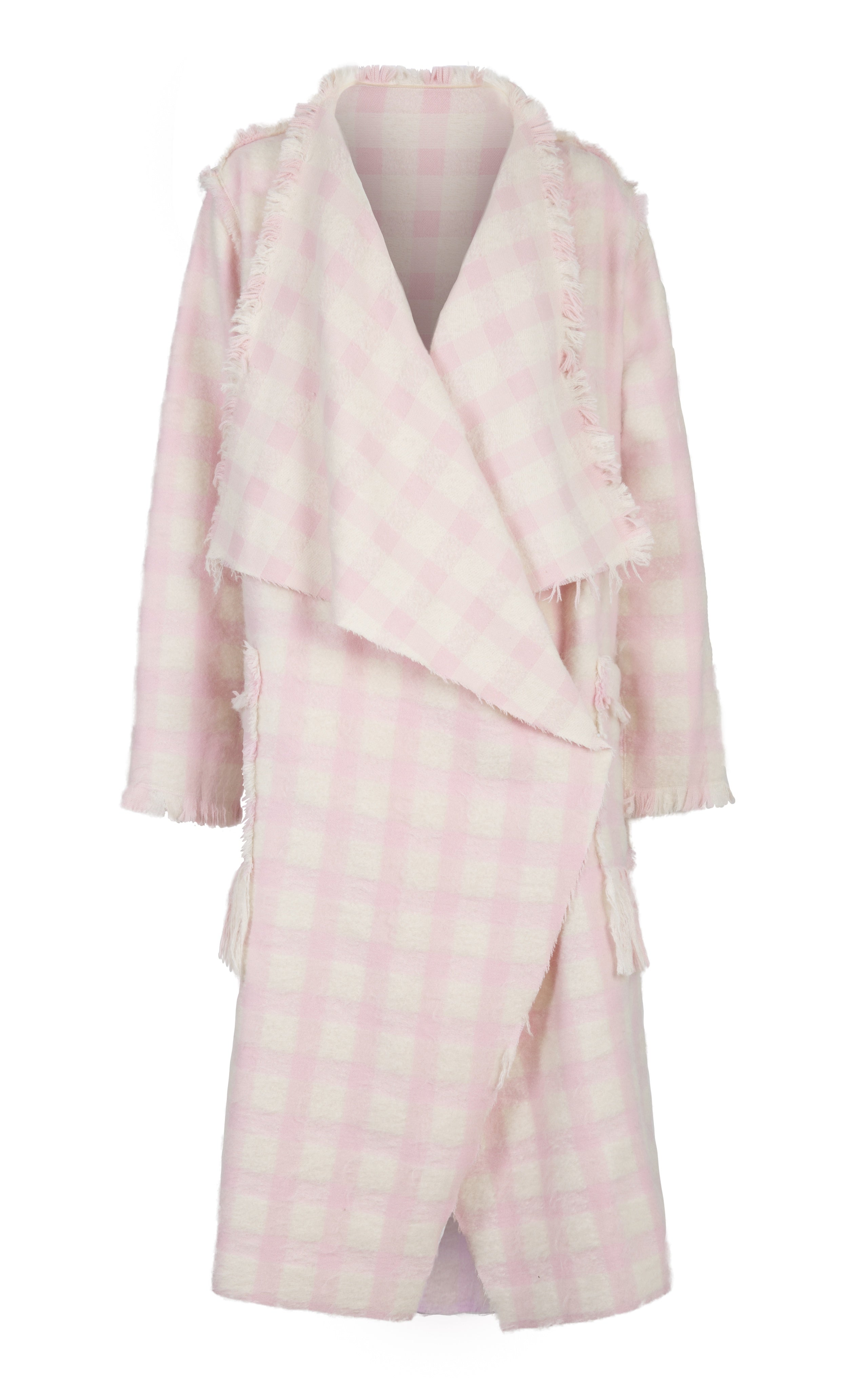 pink check wool coat