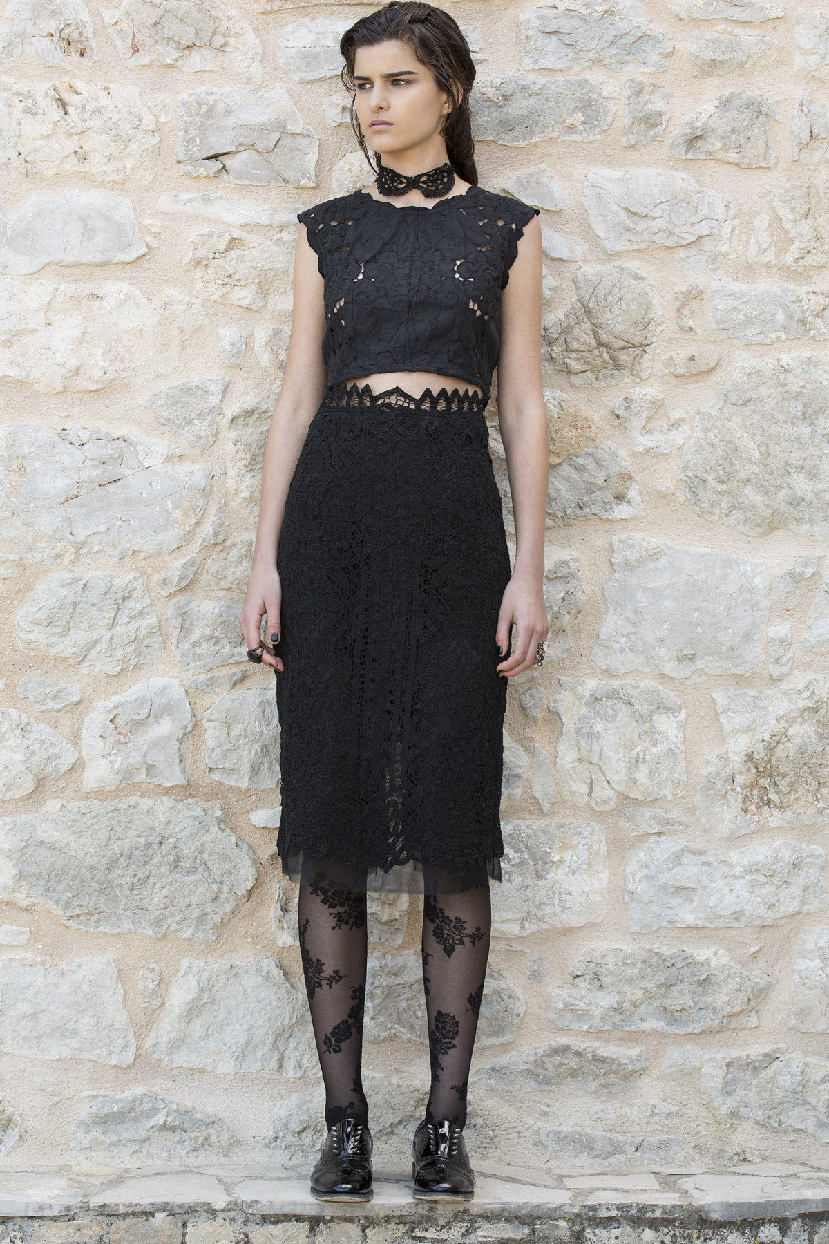 black lace high waist skirt cotton
