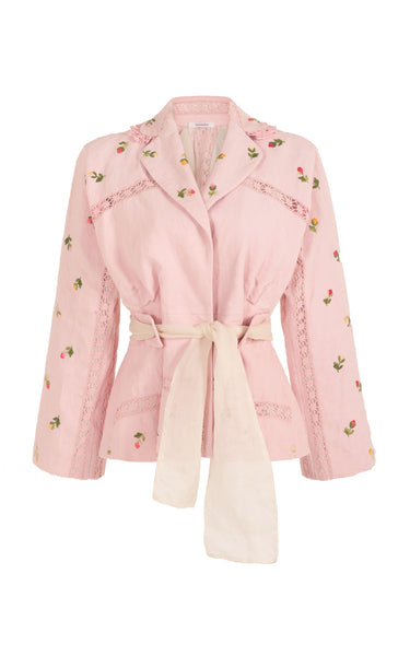 let it rain down on me pink emboidery jacket