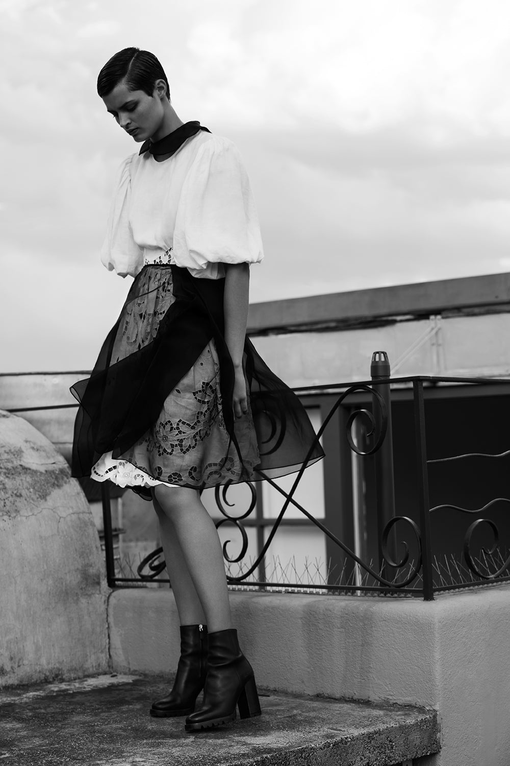 black silk organza skirt on model