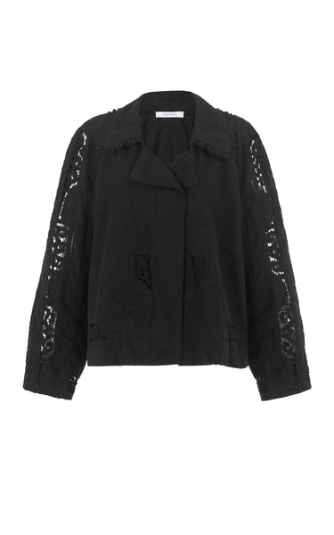 raging heart black embroidery cropped trench coat
