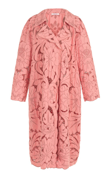 big rain coming pink lace trench coat