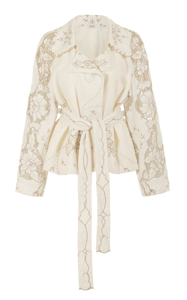 raging heart cropped linen cutwork trench coat