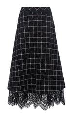 young blood black check wool skirt