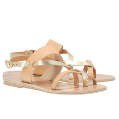 ancient greek sandals - althea tan and gold