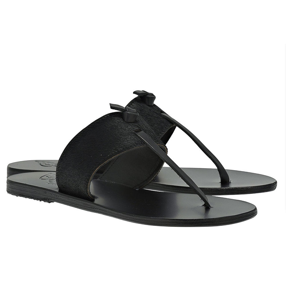 ancient greek sandals - melina black pony
