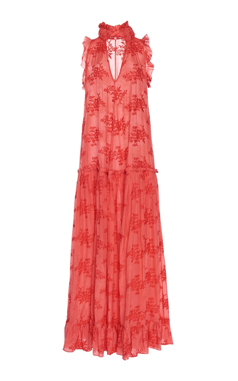 a gentle pull dress red japonica