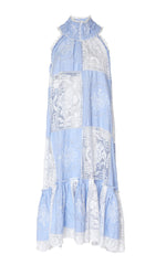 truth halter linen dress blue
