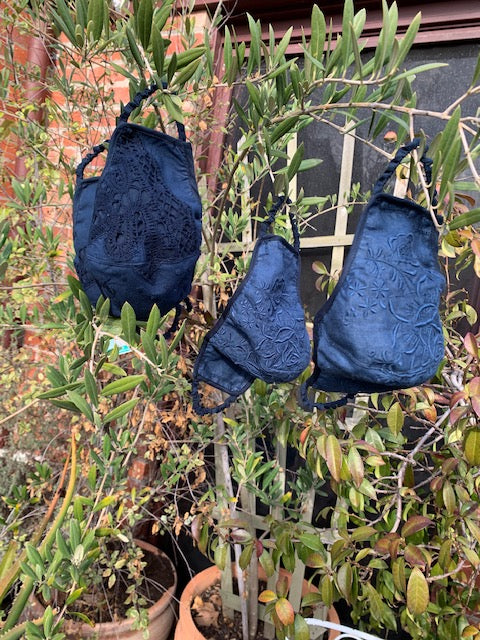 nevenka face masks in black and navy cluny lace