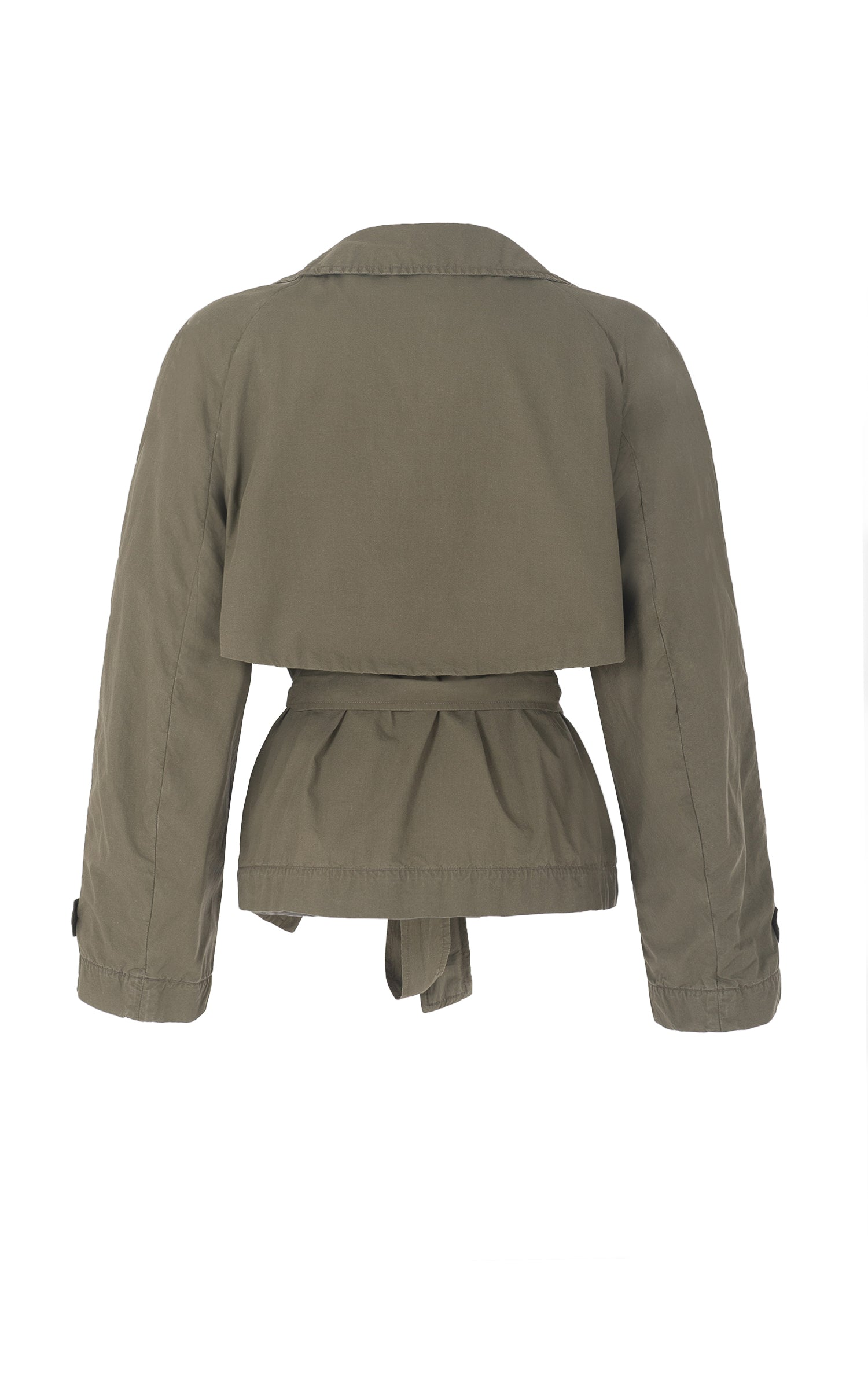 raging heart cropped khaki trench coat
