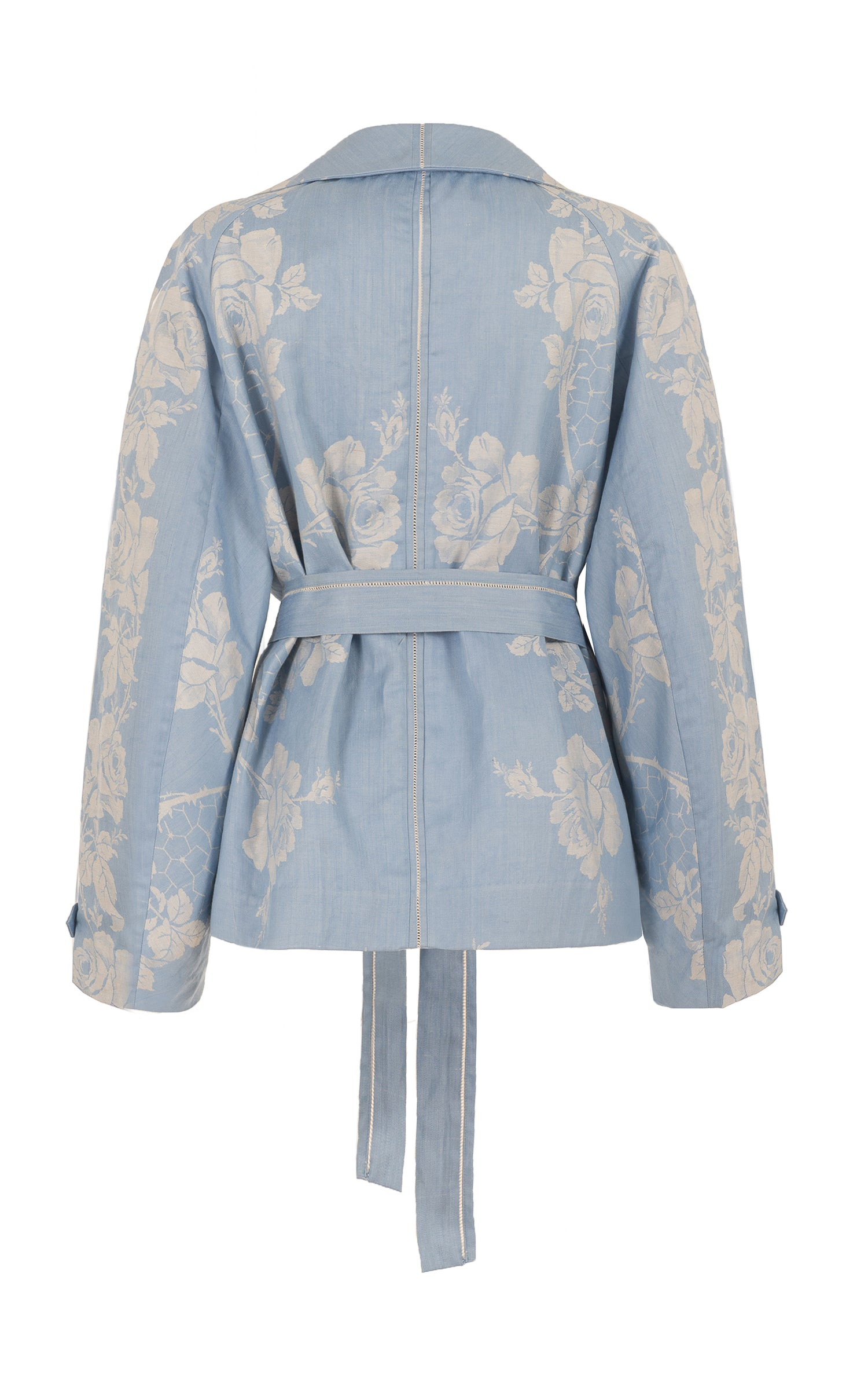 raging heart cropped blue damask trench coat