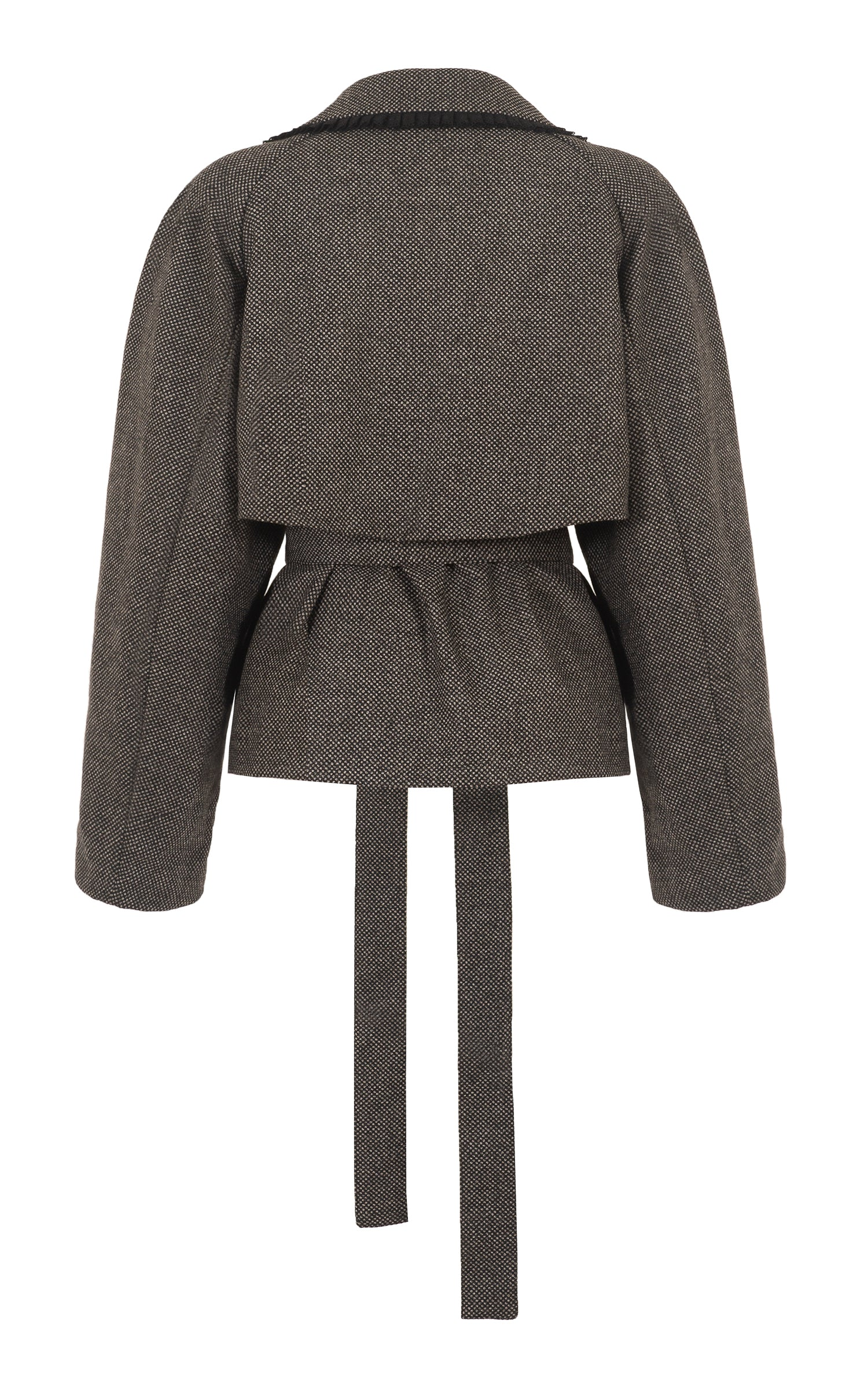 raging heart cropped grey wool trench coat