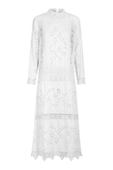 nevenka seed dress – linen lace, long sleeve midi dress