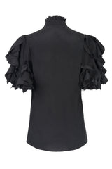black short sleeved shirt made from austrian cotton broderie anglais