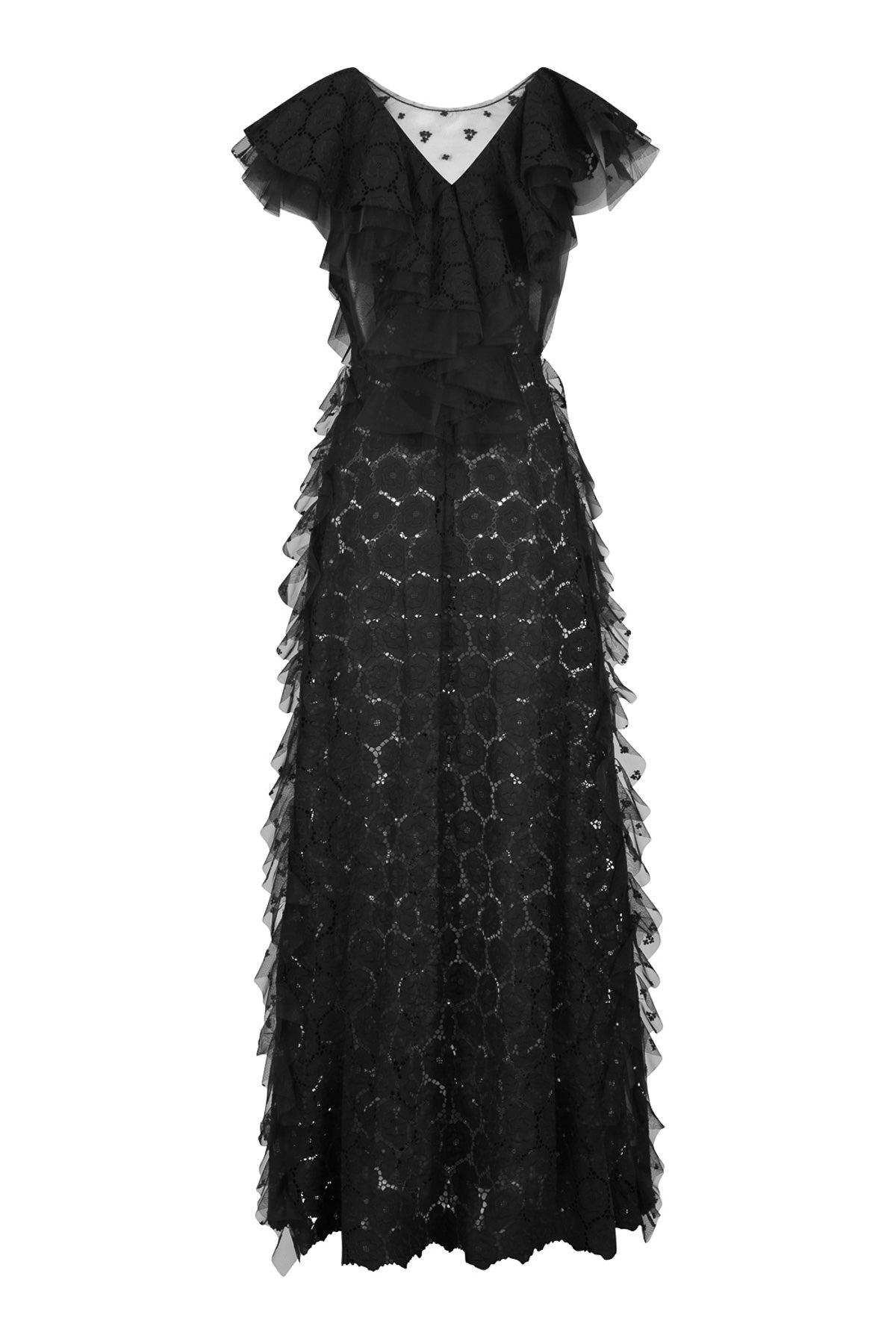 sleeveless black lace maxi dress