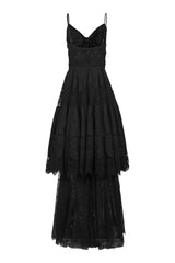empire line sleeveless long black dress