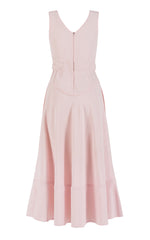 pink sleeveless midi dress - back