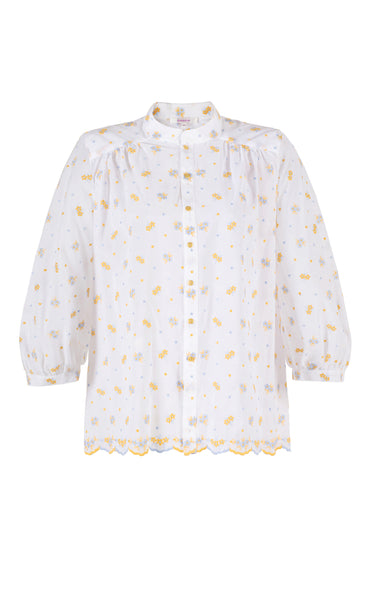 connection floral embroidery blouse