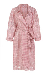 pink lace trench coat