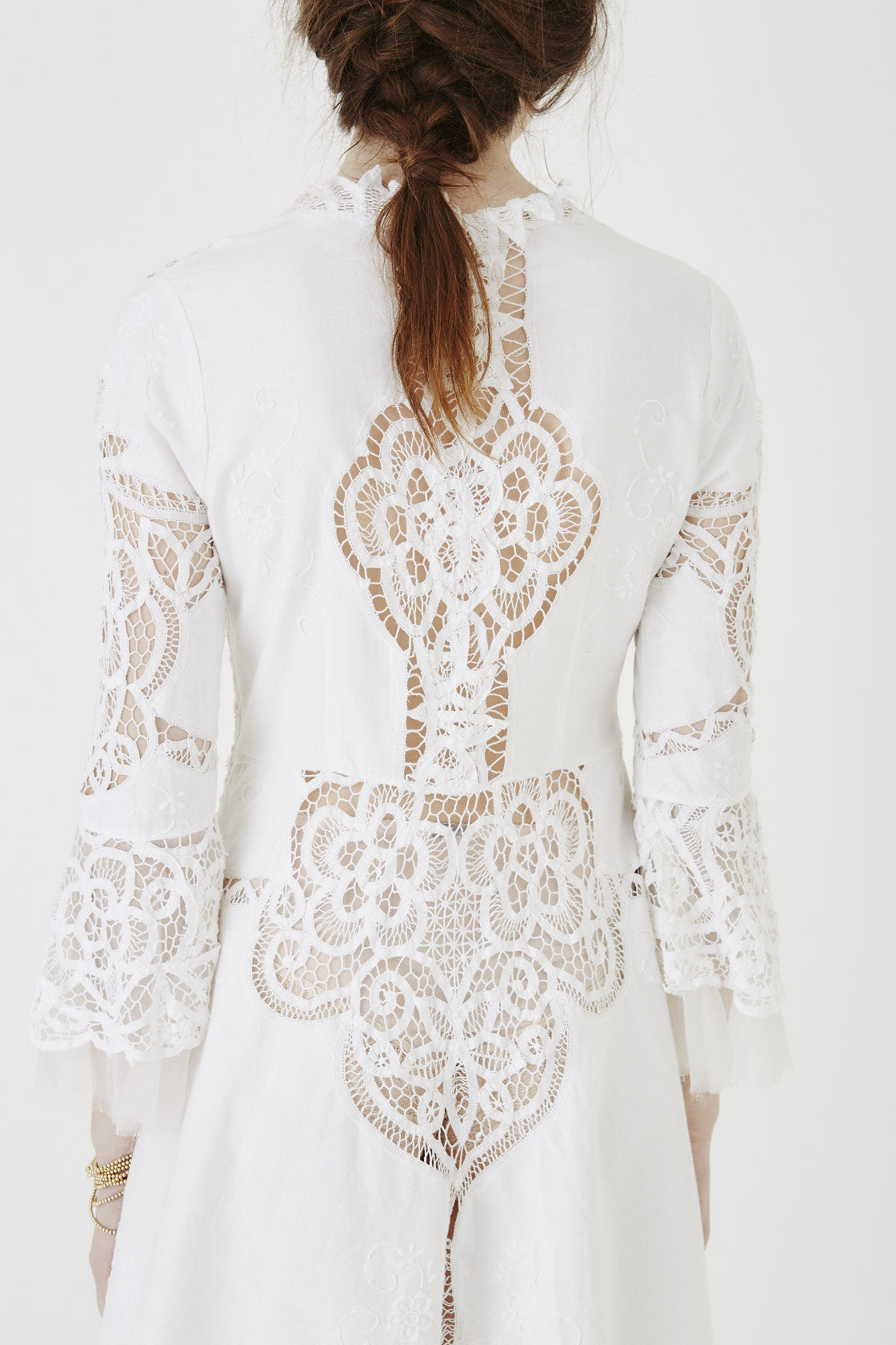 white lace, long sleeve, mini dress