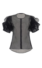 she who heals black silk organza blouse