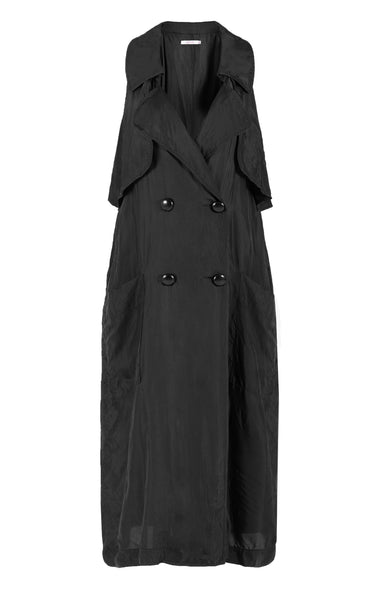 protecting me sleeveless trench black twill