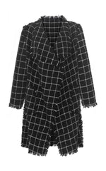she is love black check coat