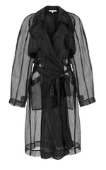 big rain coming black silk organza trench coat