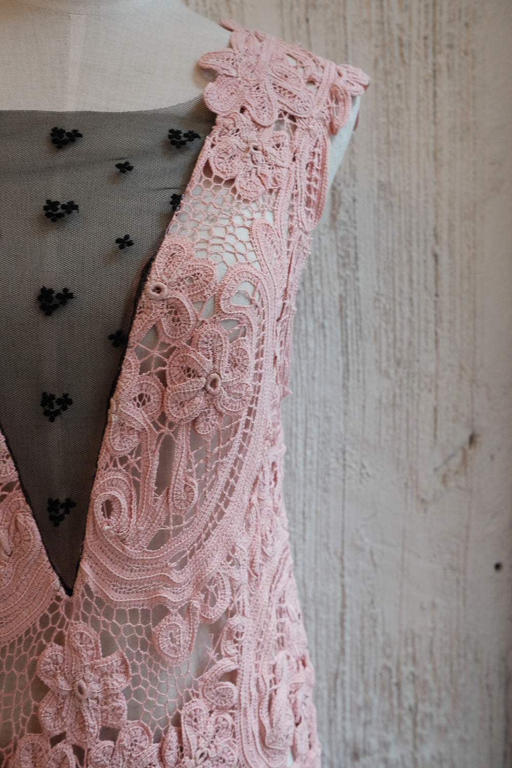 handmade lace sleeveless bias cut gown