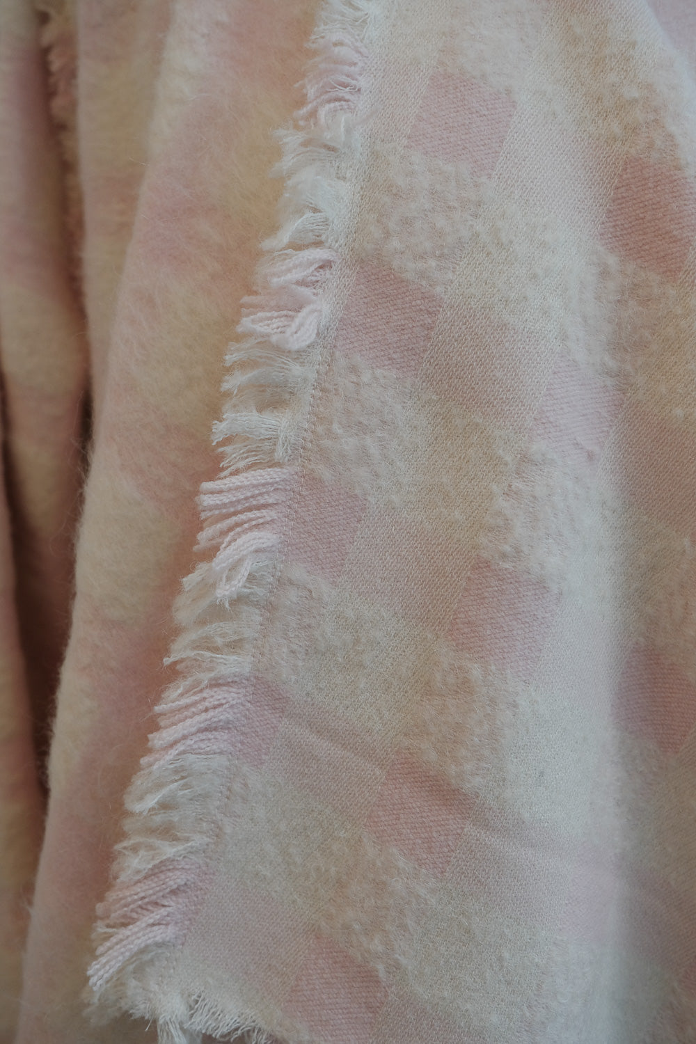 pink check wool coat frayed edge detail