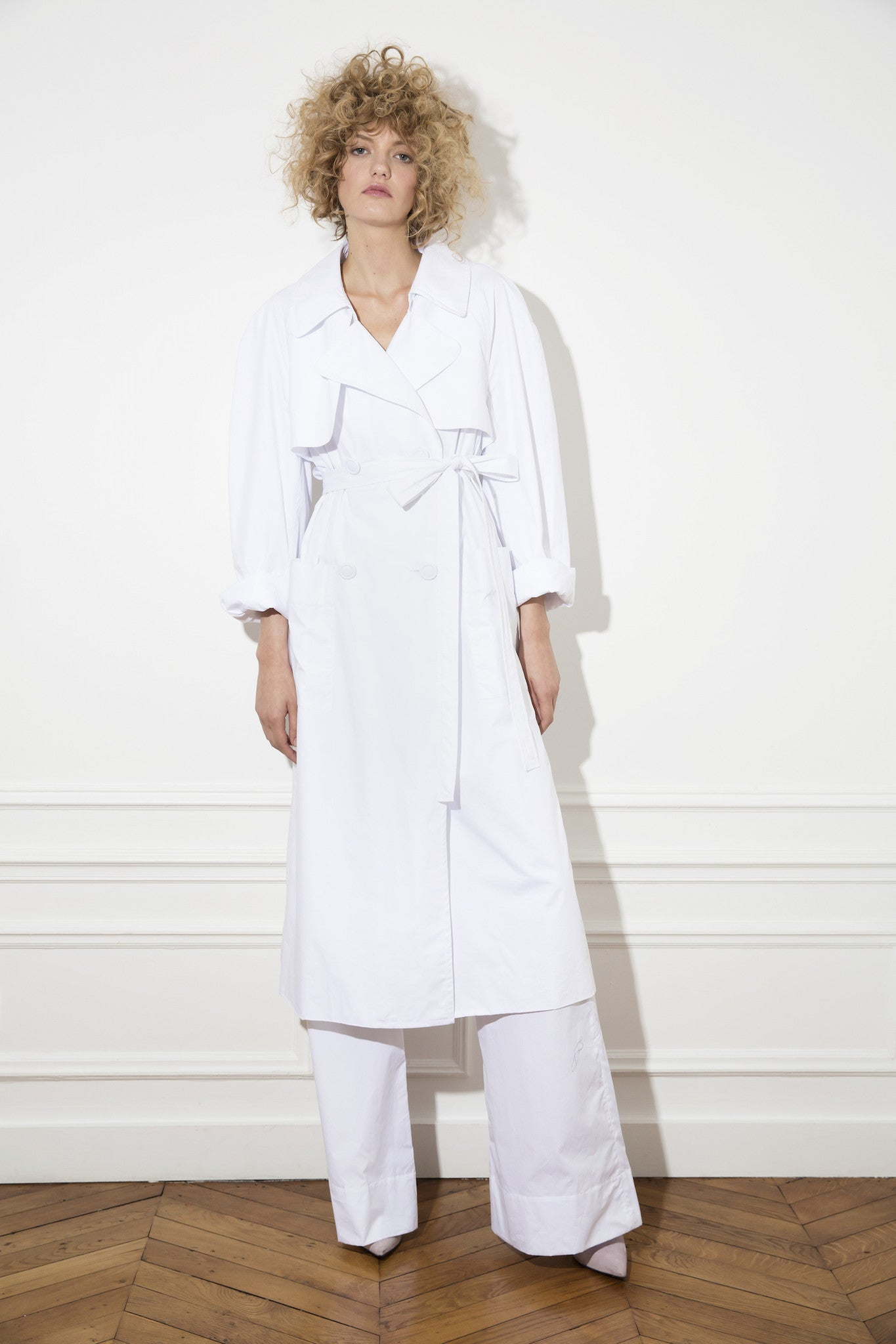 white trench coat. sustainable luxury clothing designed and made in melbourne by nevenka.