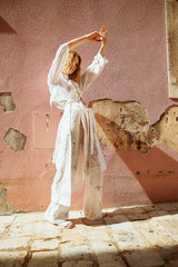the movement pants ivory linen embroidery