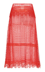 nevenka young blood red lace skirt ss20