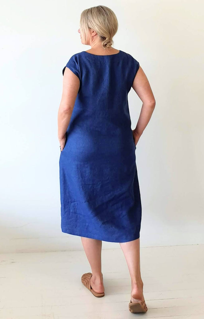 A-LINE DRESS IN JAPANESE HERRINGBONE LINEN