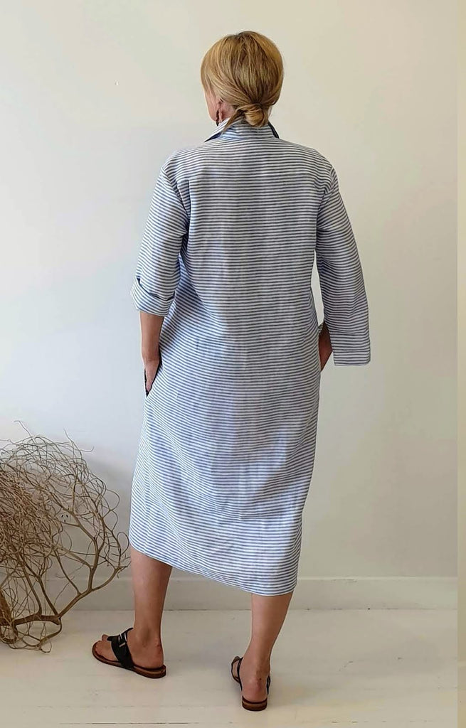 SHIRT MAKER DRESS IN BLUE STRIPE LINEN