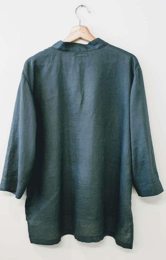 FRENCH COLLAR SHIRT IN STEEL