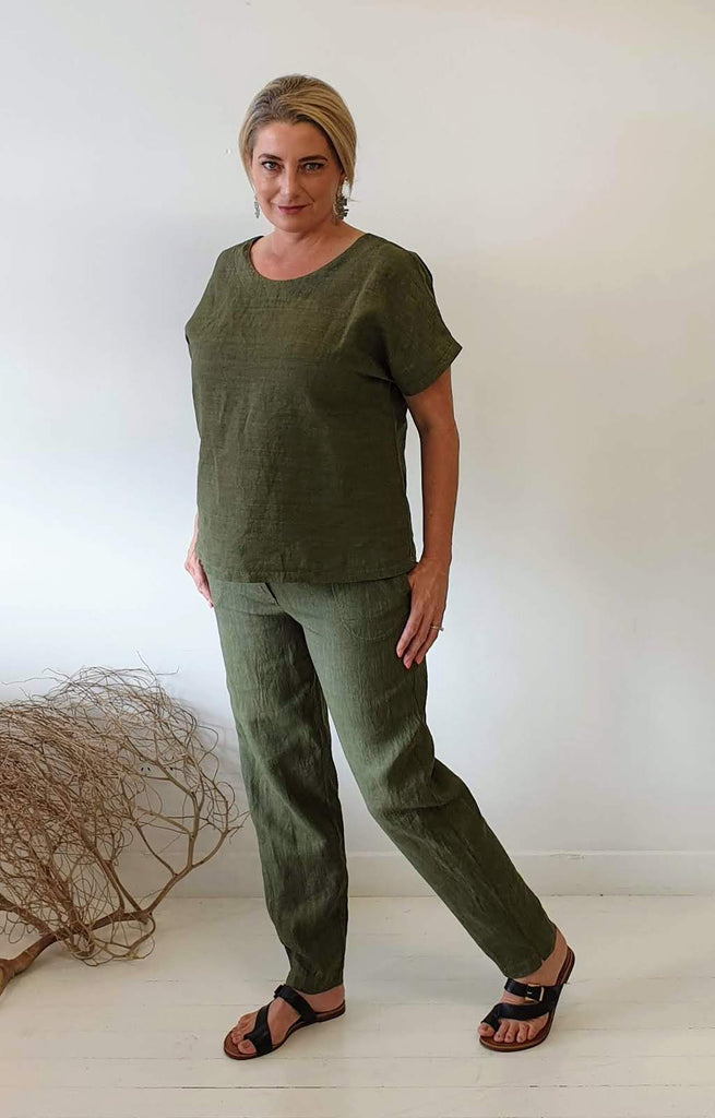 OVERDYED LINEN PANT IN OLIVE