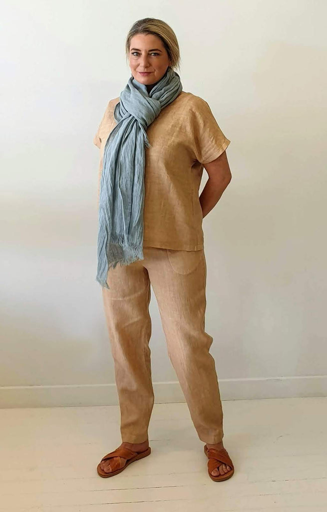 OVER DYED LINEN PANT IN ECRU