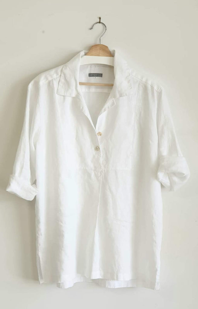 WHITE LINEN BUTTON FRONT POLO SHIRT