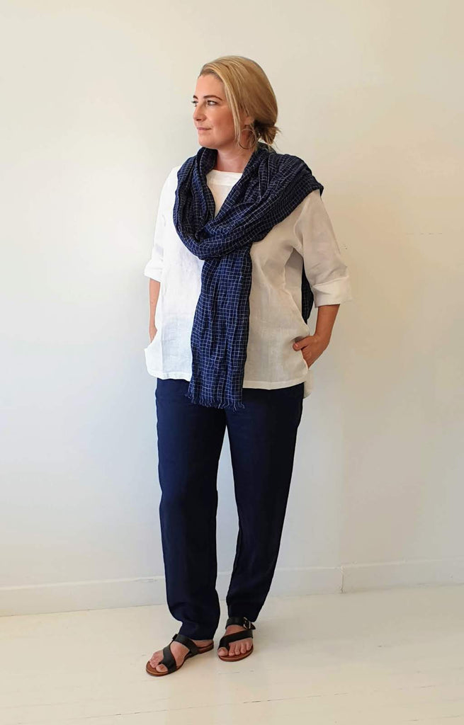 LINEN PANT IN FRENCH NAVY