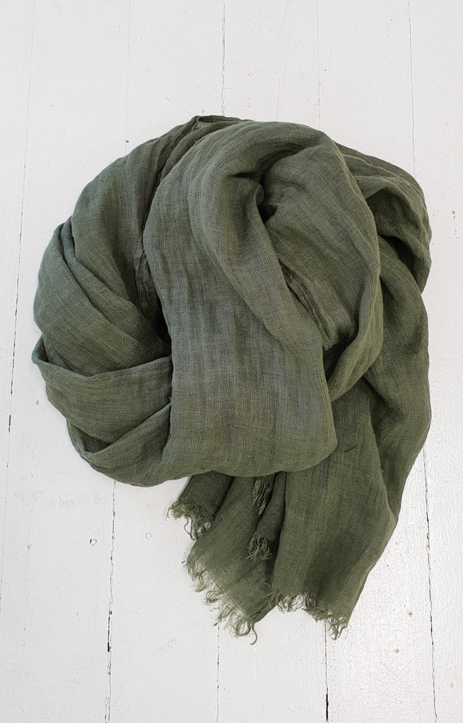 HAND DYED LINEN WRAP IN OLIVE