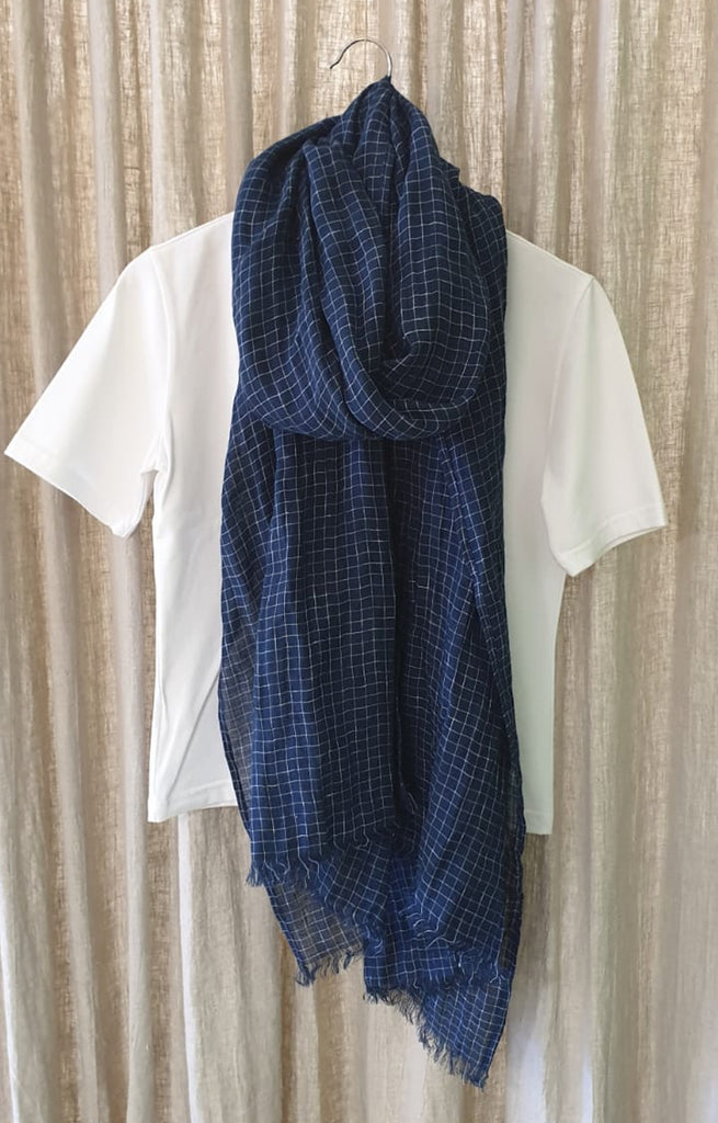 NAVY CHECK LINEN GAUZE WRAP