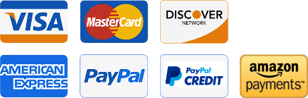 We accept: Visa, Mastercard, American Express, Paypal, Amazon Payments