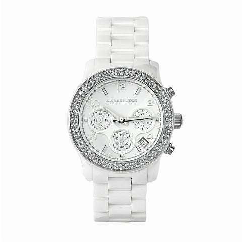 Michael Kors Runway White Dial White Ceramic Ladies Watch MK5188