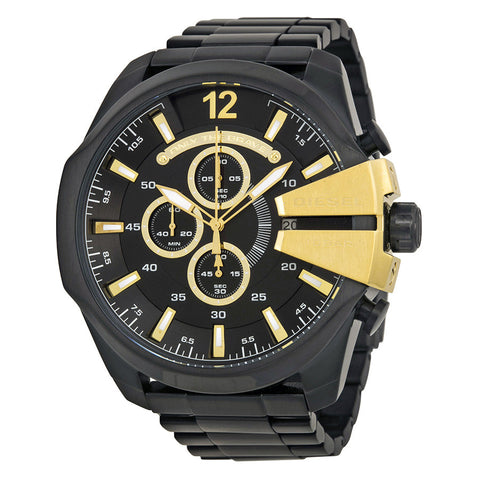 DIESEL Mega Chief Chronograph Black Dial Black Ion-plated Men's Watch DZ4338 - Free Shipping -  Promenade Watches - 1