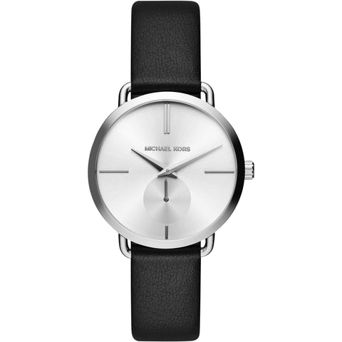 Michael Kors Portia White Sunray Dial Black Leather Ladies Watch MK2658