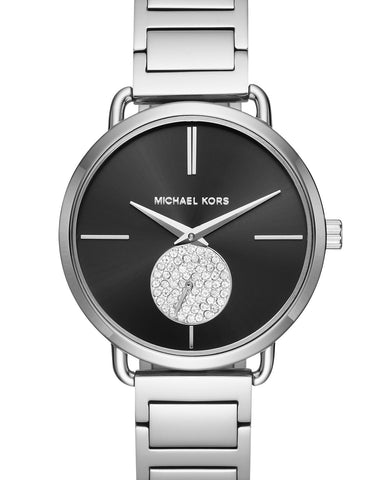 Michael Kors Portia Black Dial Stainless Steel Ladies Watch MK3638